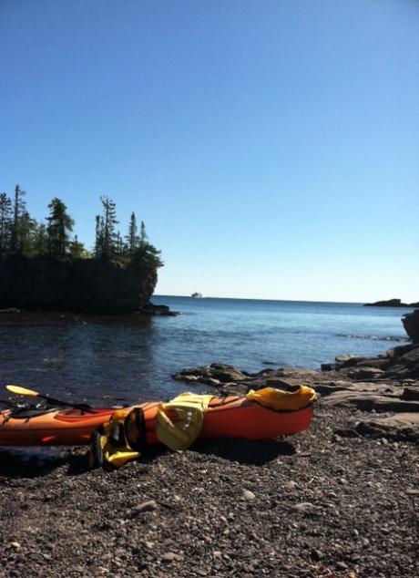 Isle Royale beach with kayaks